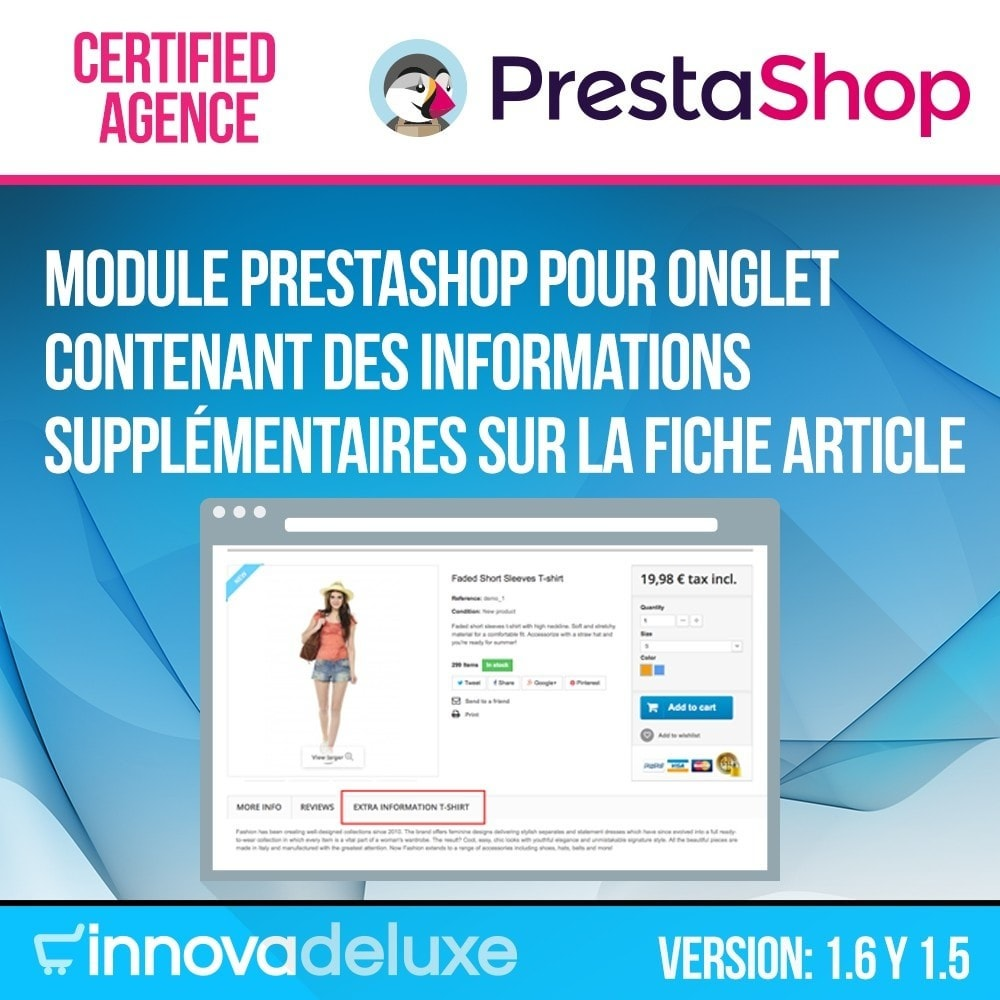 module - Information supplémentaire & Onglet produit - Informations supplémentaires sur la fiche article - 1
