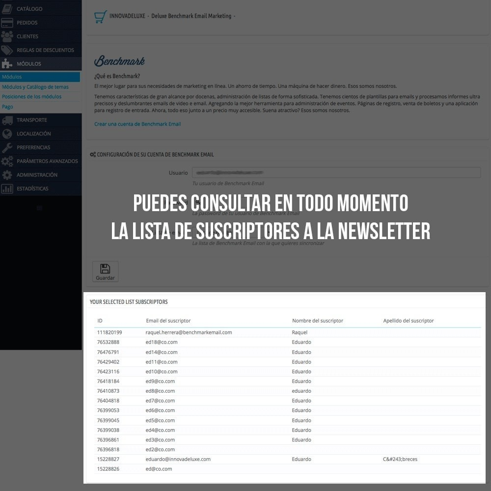 module - E-mails y Notificaciones - Integración con Benchmark Email Marketing - 5