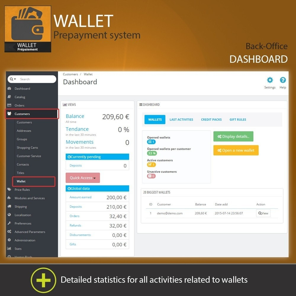 module - Payment by Card or Wallet - Wallet - Prepayment with cash back system - 1