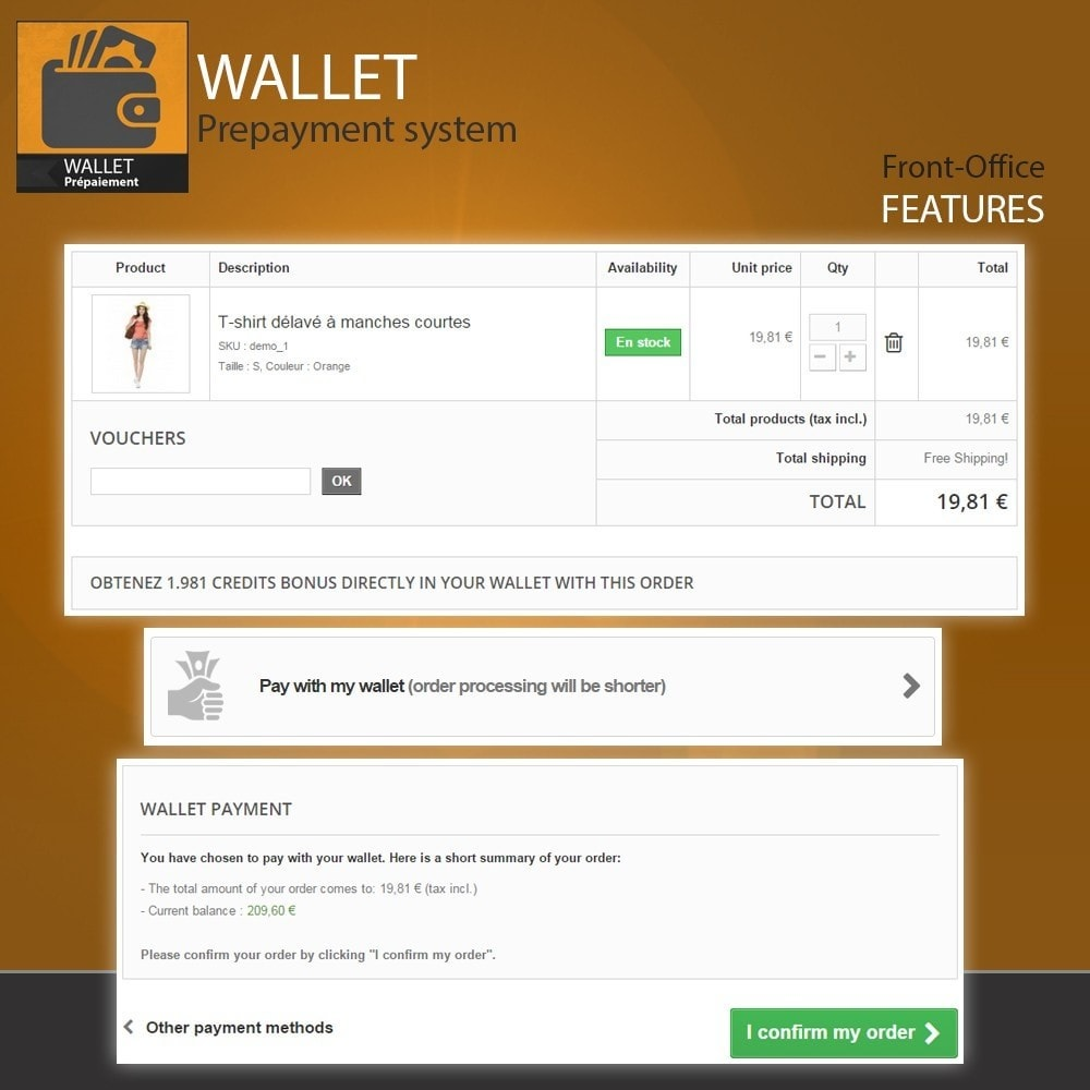 module - Payment by Card or Wallet - Wallet - Prepayment with cash back system - 8