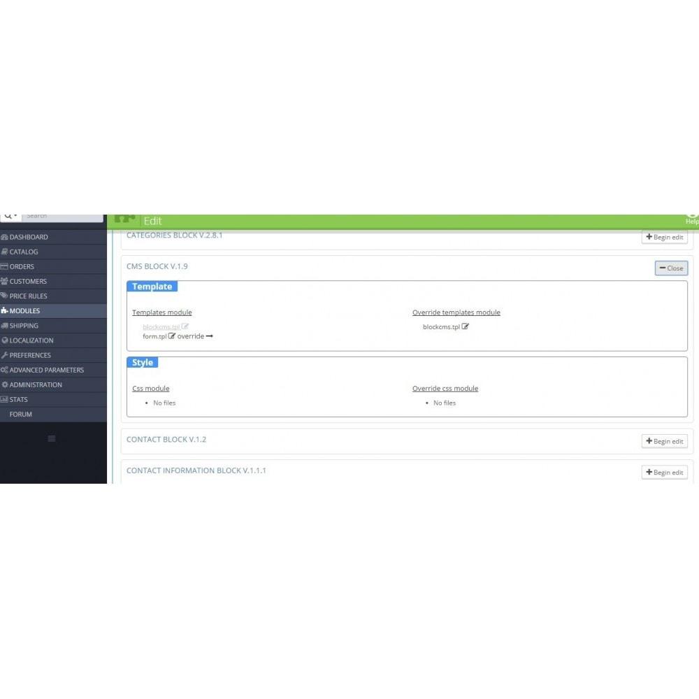 module - Page Customization - Modules and theme editor - 1