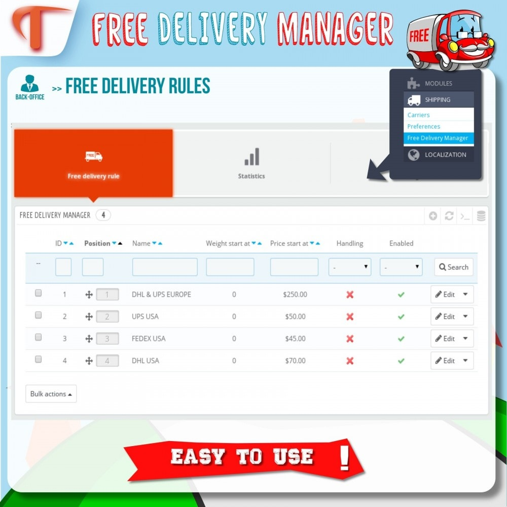 module - Стоимость доставки - Free Delivery Manager - 3