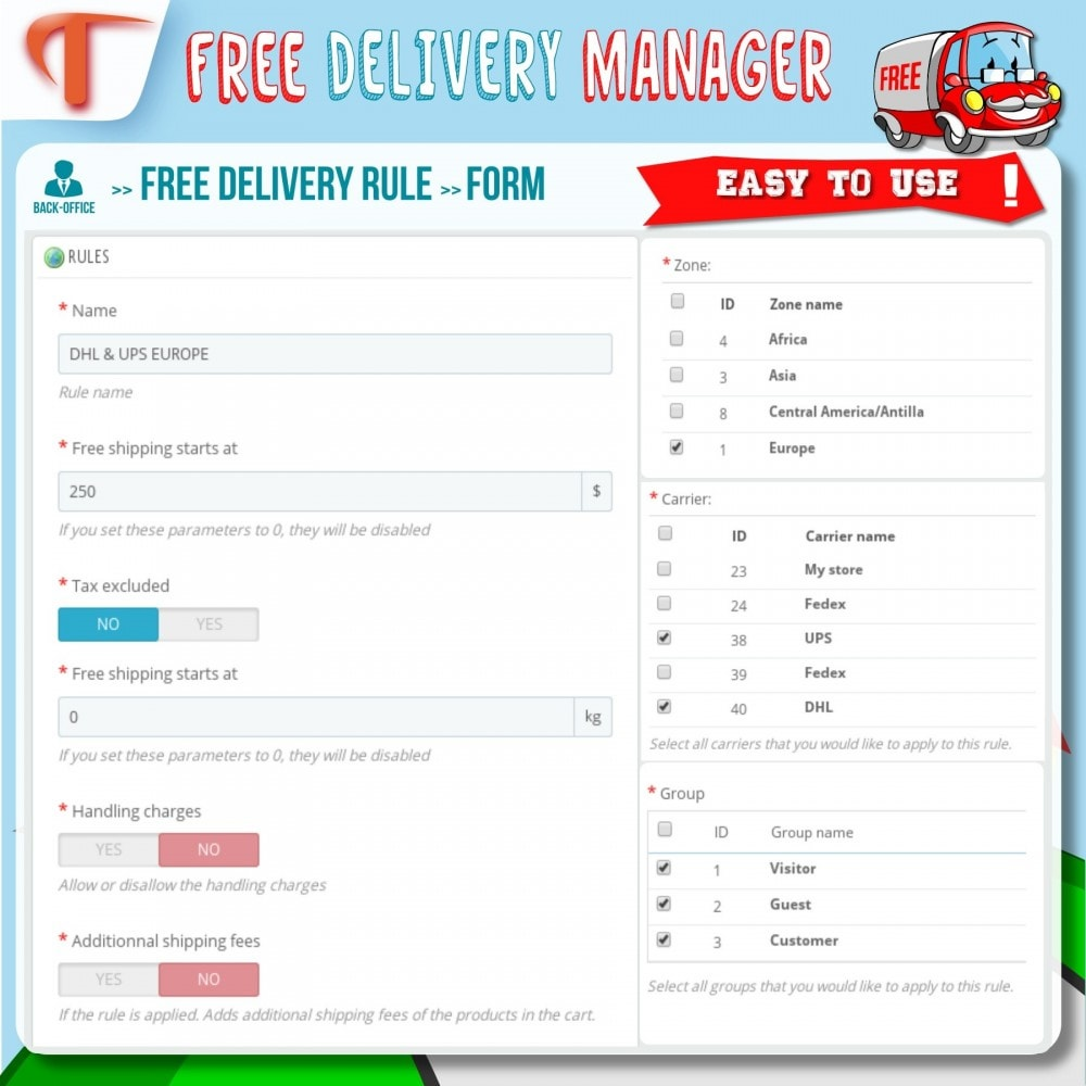 module - Стоимость доставки - Free Delivery Manager - 4