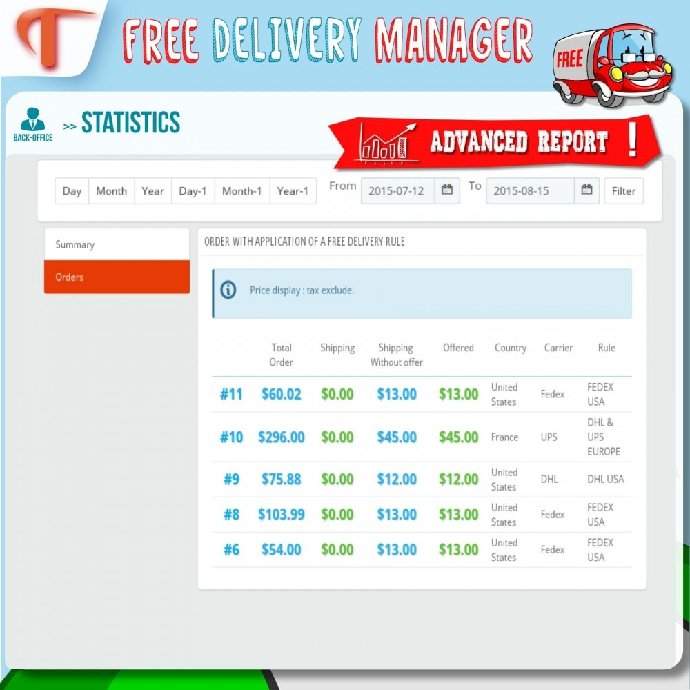 module - Стоимость доставки - Free Delivery Manager - 7