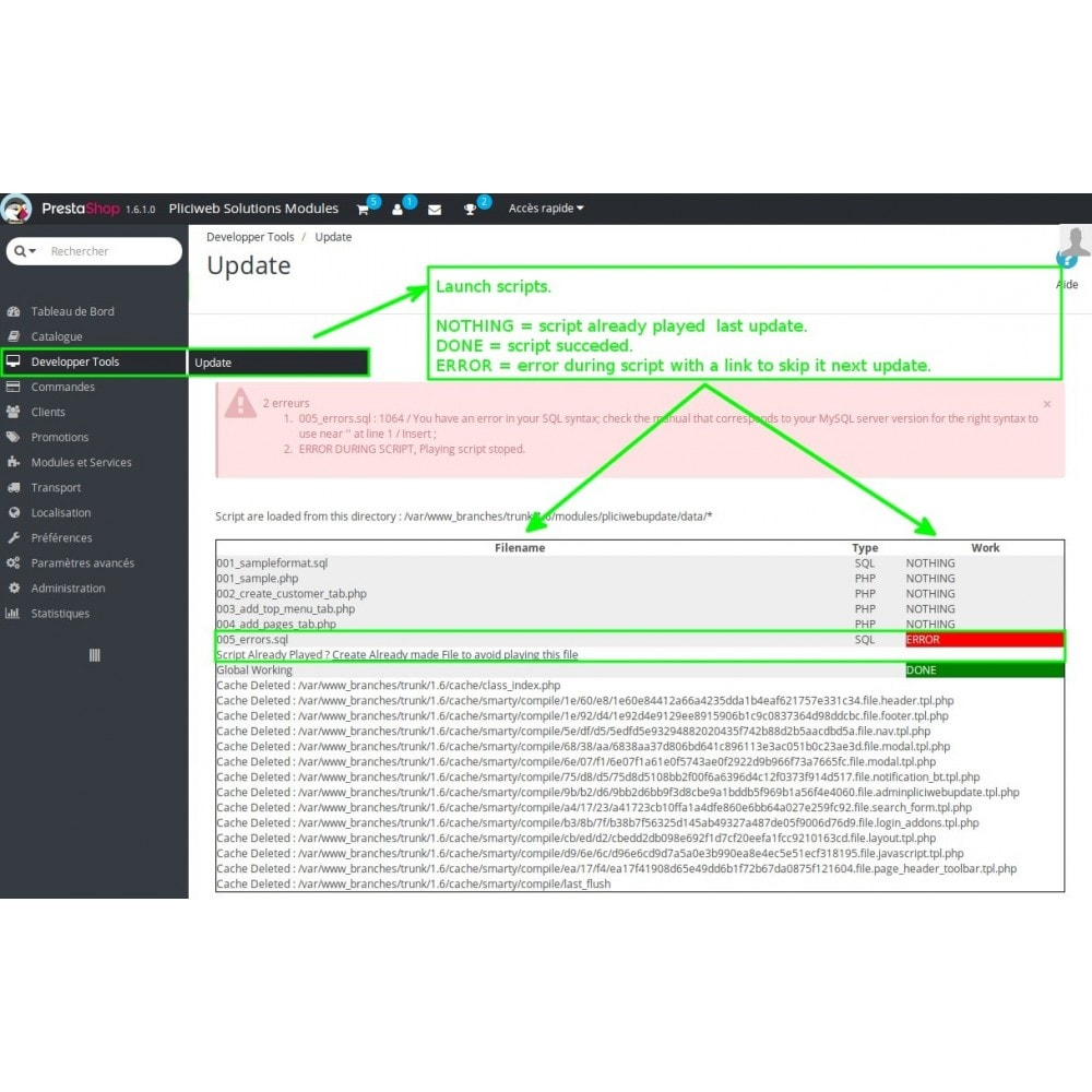module - Administratieve tools - Developper Tools - 2