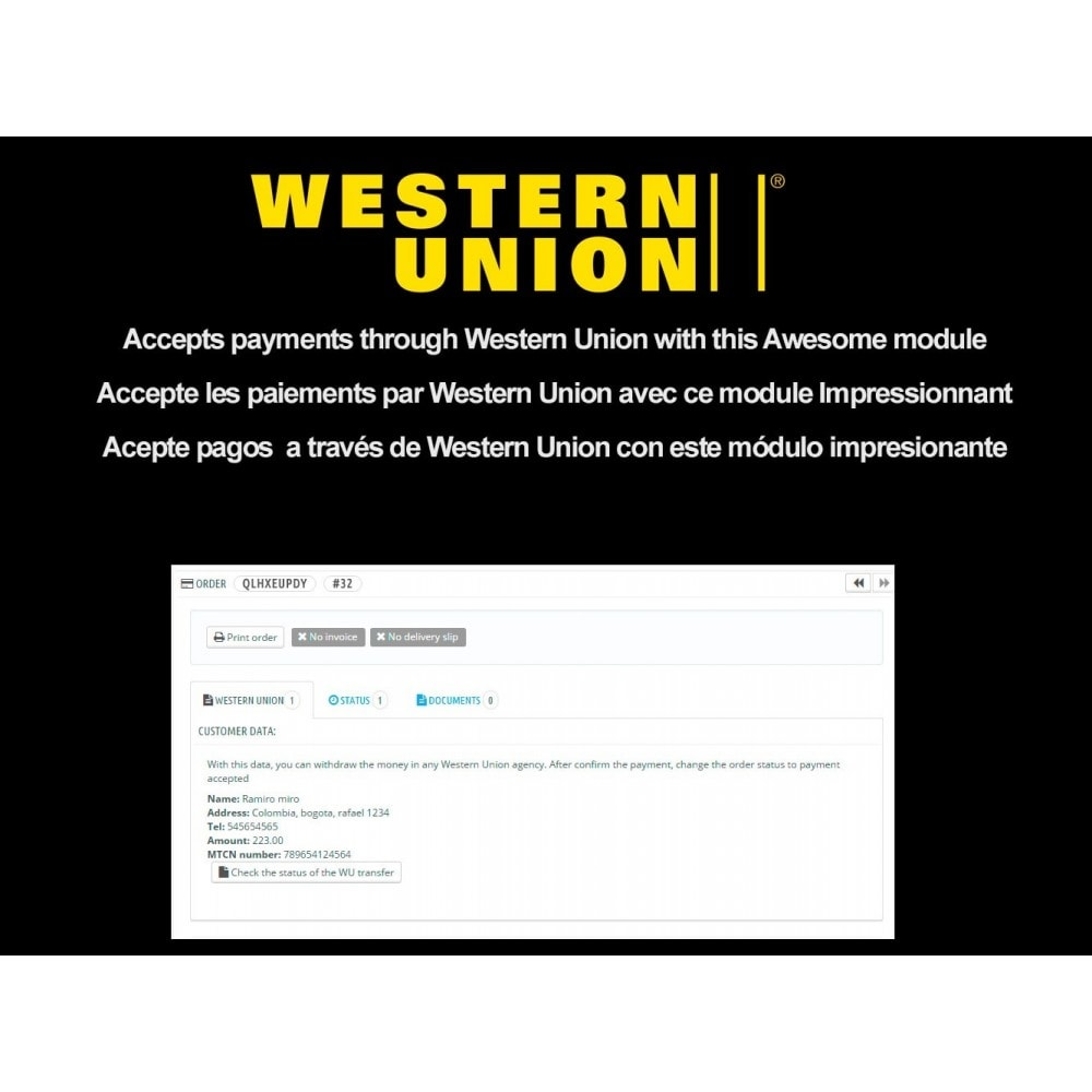 module - Other Payment Methods - Western Union + - 1