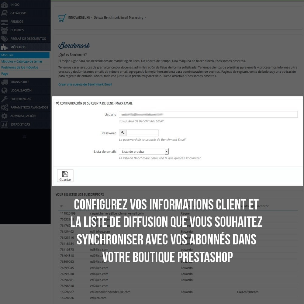 module - E-mails & Notifications - Intégration avec Benchmark Mail Marketing - 4