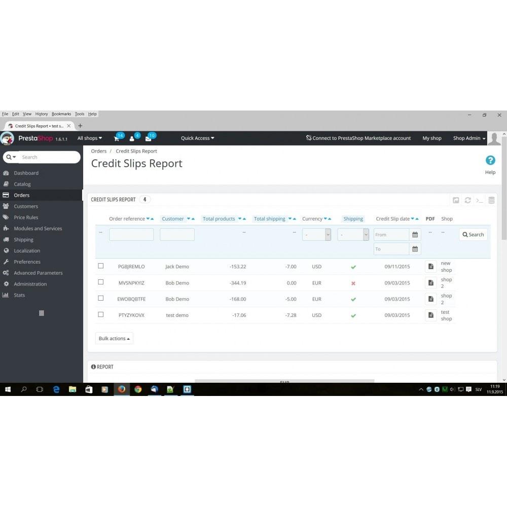 module - Boekhouding en fakturatie - Credit Slips advanced search, report & export - 1