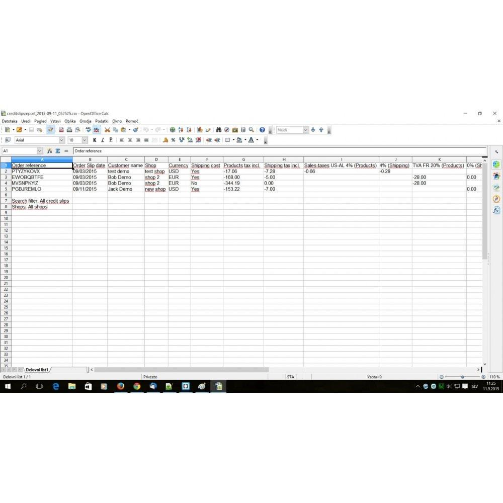 module - Boekhouding en fakturatie - Credit Slips advanced search, report & export - 4