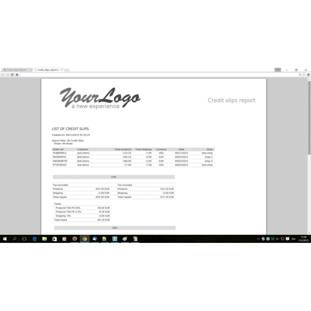 module - Accounting & Invoicing - Credit Slips advanced search, report & export - 5