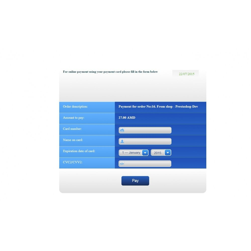 module - Payment by Card or Wallet - Armenian Card (ArCa) for AmeriaBank - 3