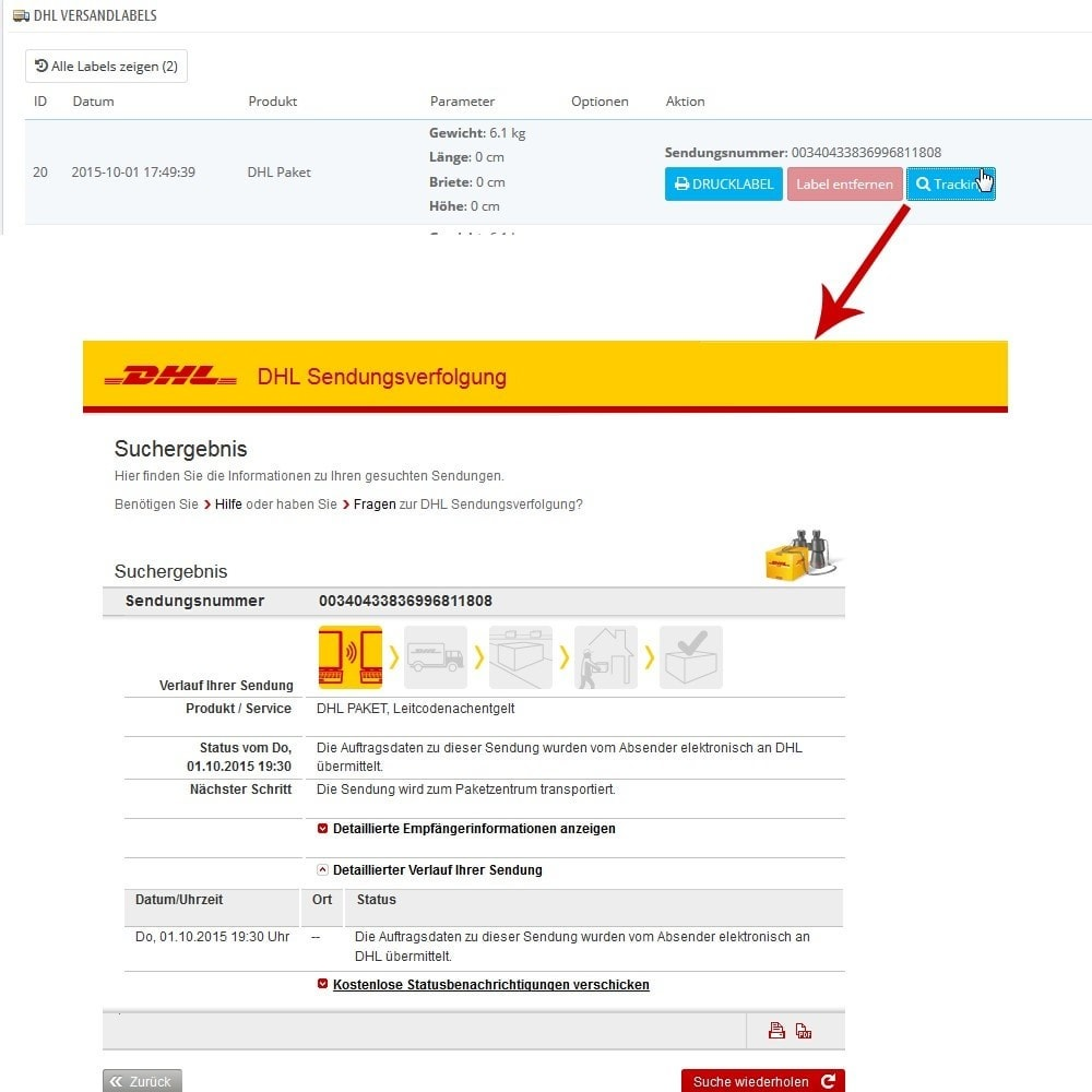 module - Transportistas - DHL Business Portal Connector - 11