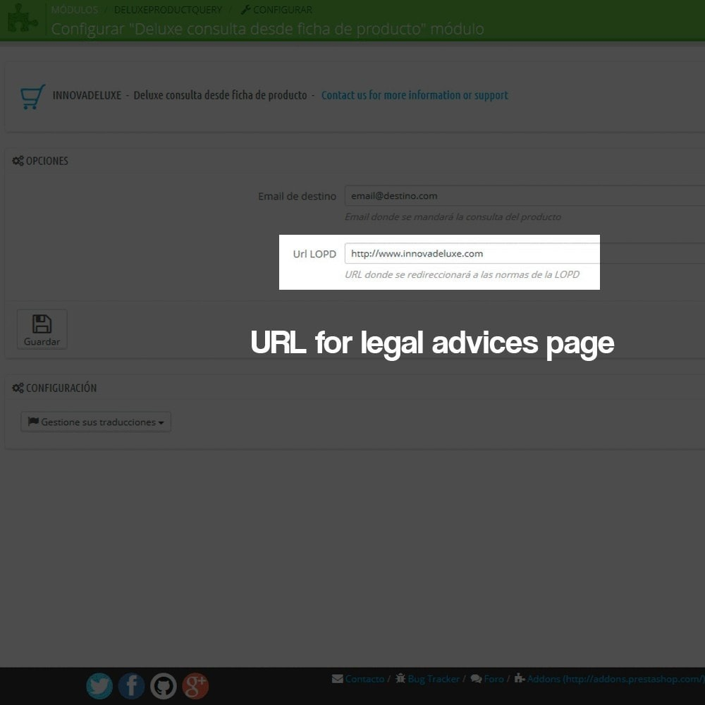 module - Jurídico - Product query module with protection data law - 3