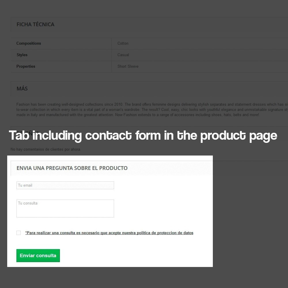 module - Wzmianki prawne - Product query module with protection data law - 4