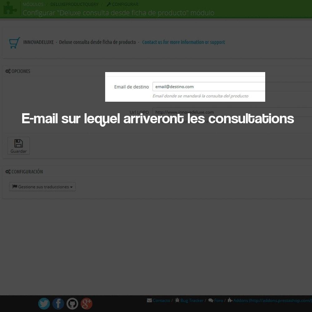 module - Législation - Demande de renseignements à partir de la page produit - 1