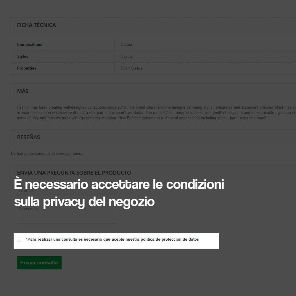 module - Legale (Legge Europea) - Richiedere informazioni dalla pagina del prodotto - 5