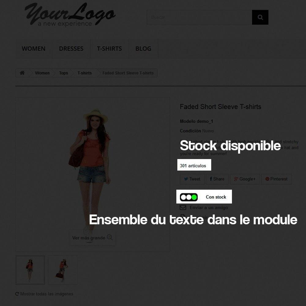 module - Information supplémentaire & Onglet produit - Indicateur de stock disponible sur fiche article - 3
