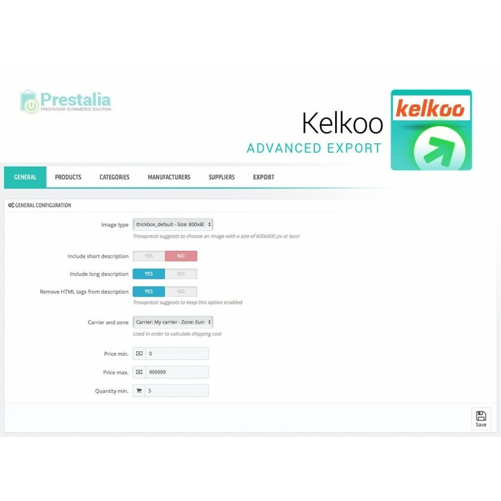 module - Price Comparison - Kelkoo - Export + Advanced Filters - 2