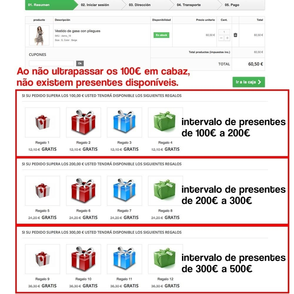 module - Promoções & Brindes - Gifts in shopping carts to increase order price - 10