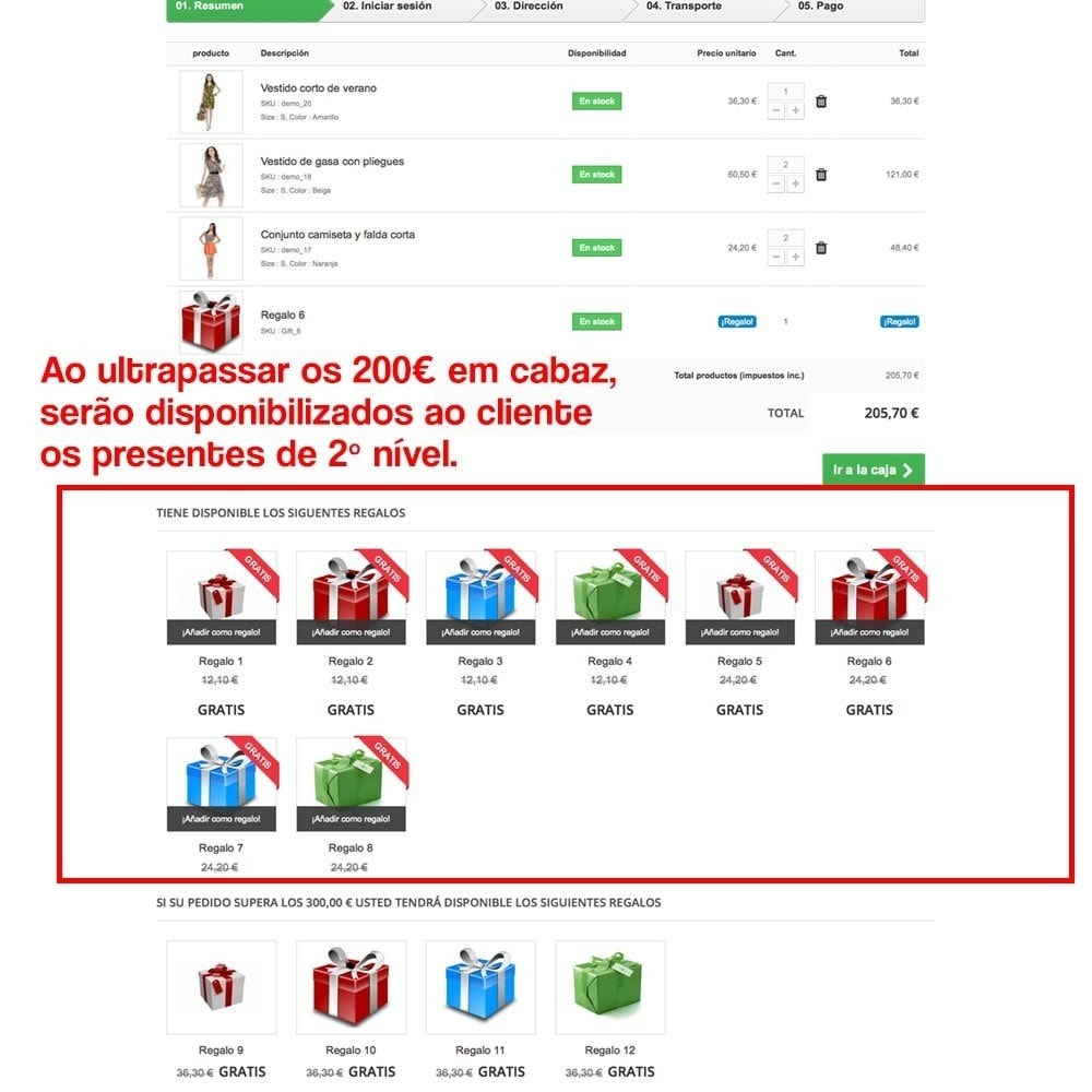 module - Promoções & Brindes - Gifts in shopping carts to increase order price - 14
