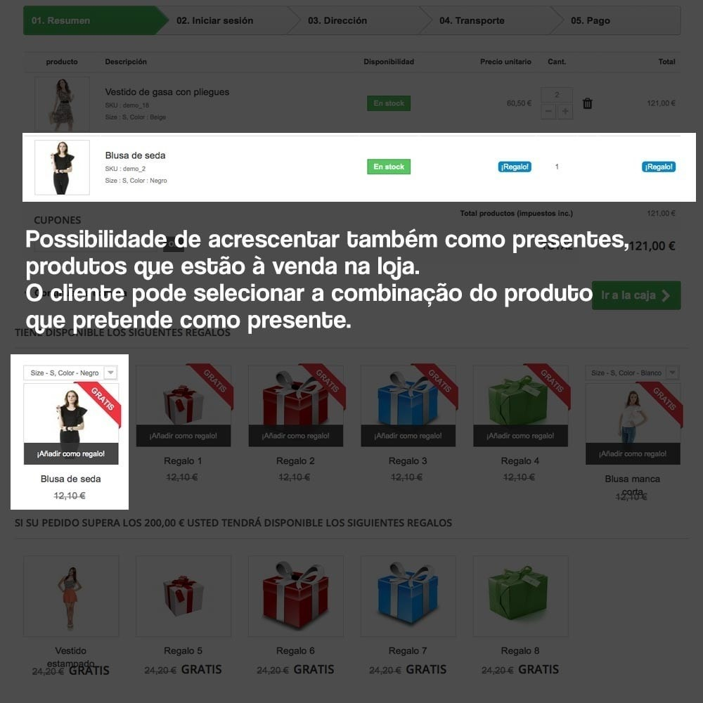 module - Promoções & Brindes - Gifts in shopping carts to increase order price - 15