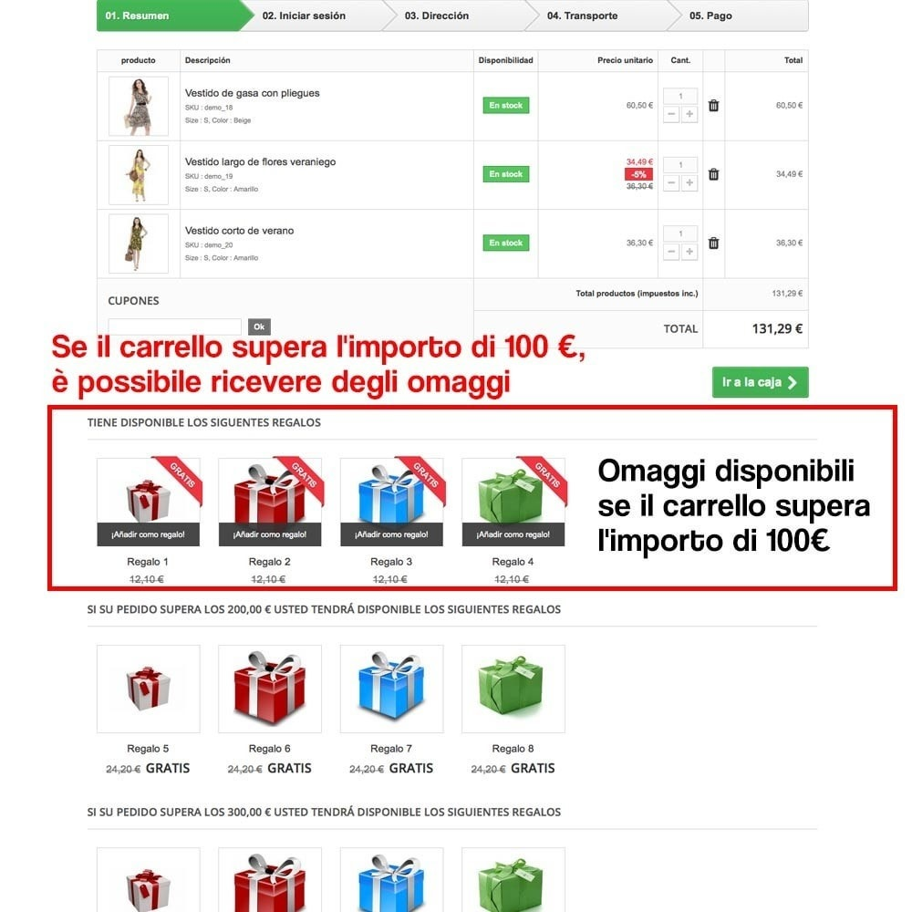 module - Promozioni & Regali - Gifts in shopping carts to increase order price - 11