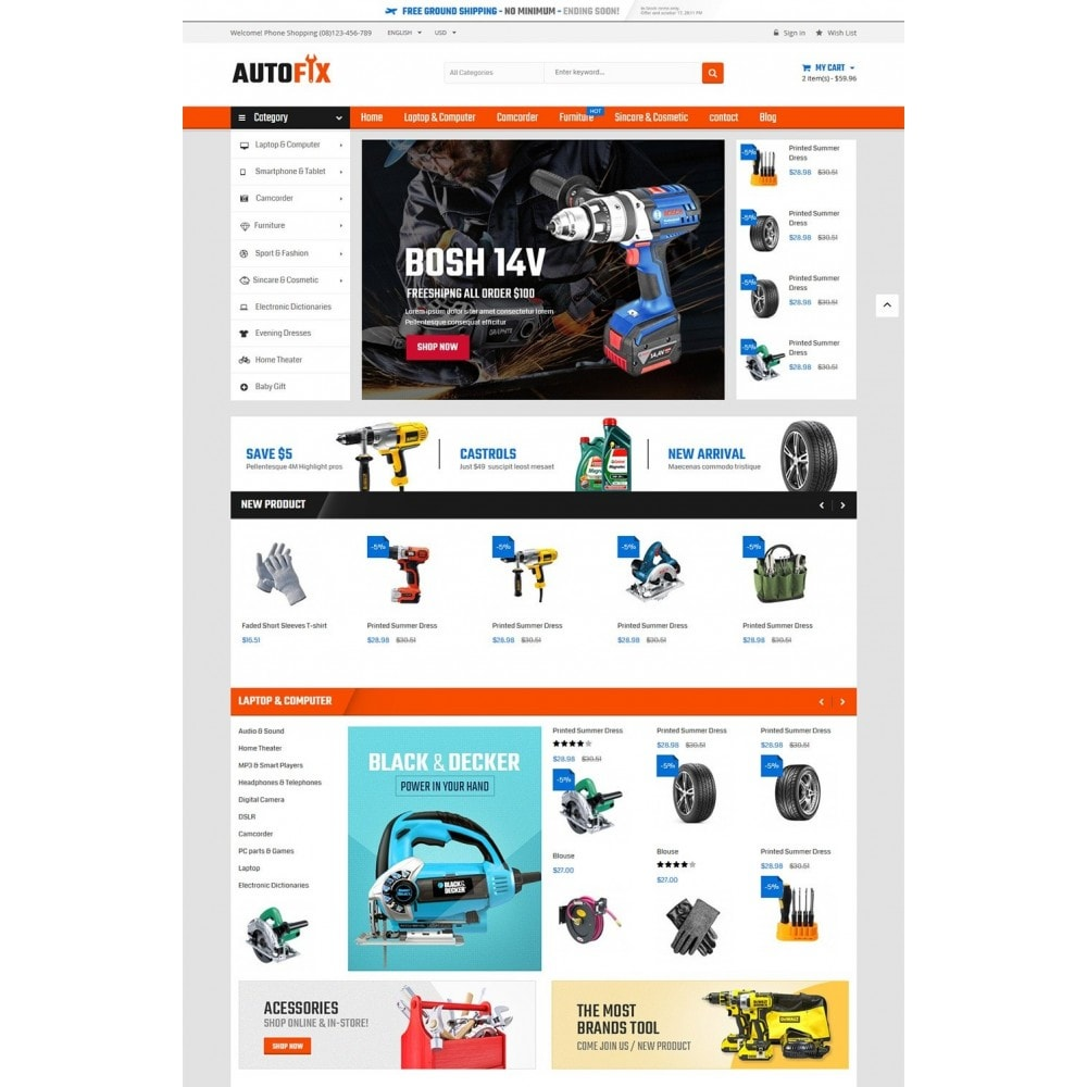 theme - Coches y Motos - Autofix - Tools Store - 2