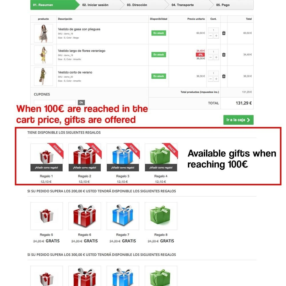 module - Акции и Подарки - Gifts in shopping carts to increase order price - 11
