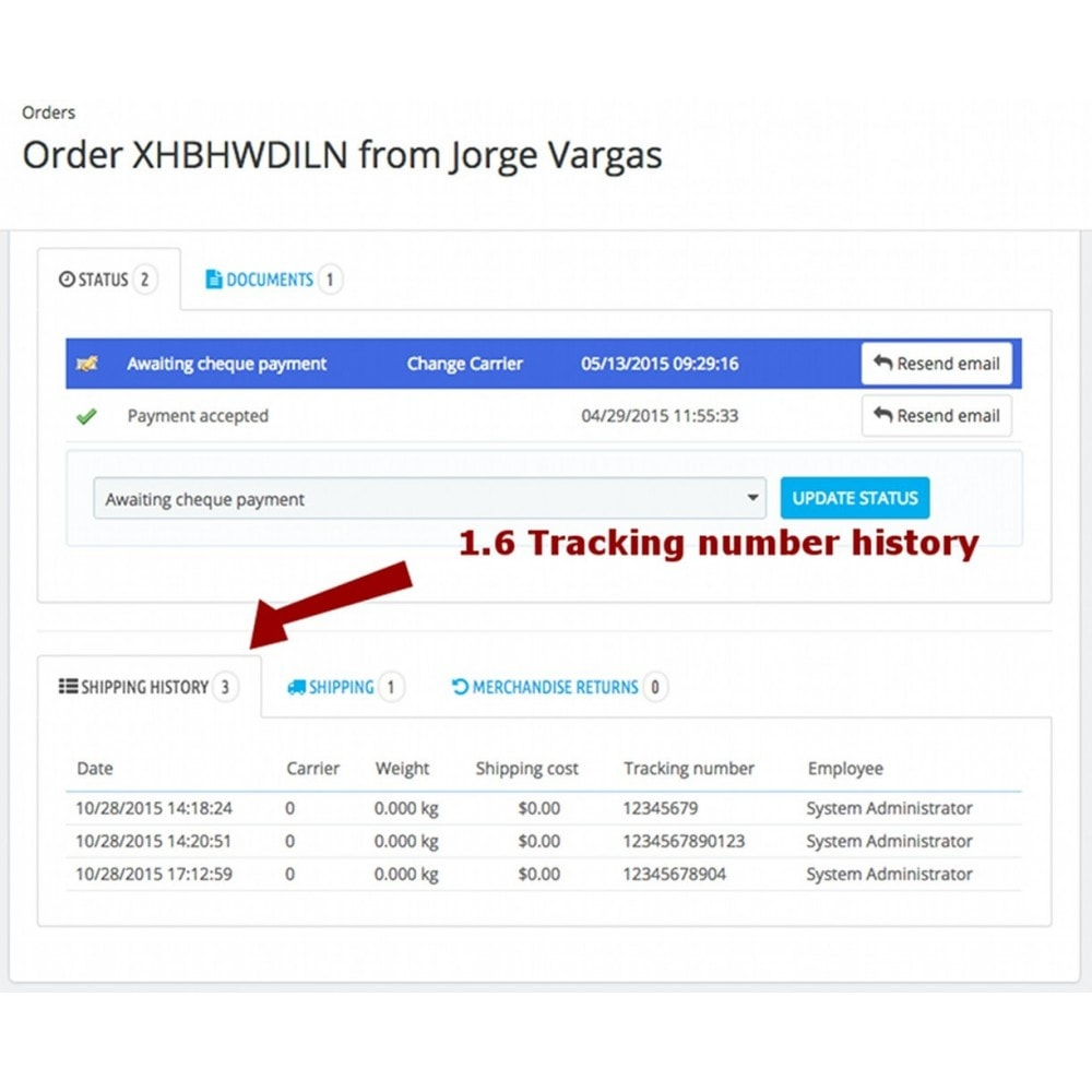 module - Corrieri - Change carrier and tracking number history - 10