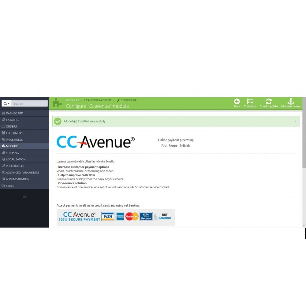 module - Payment by Card or Wallet - CCAvenue - 3