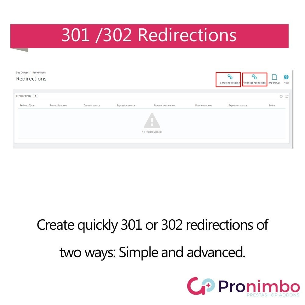 module - URL & Redirects - Seo Center: Redirects 301 / 302 - 2