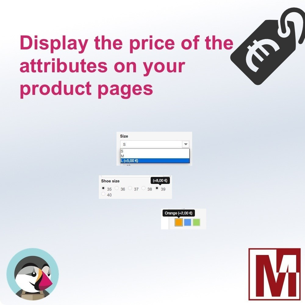 module - Combinaciones y Personalización de productos - Display attributes prices on your products - 1