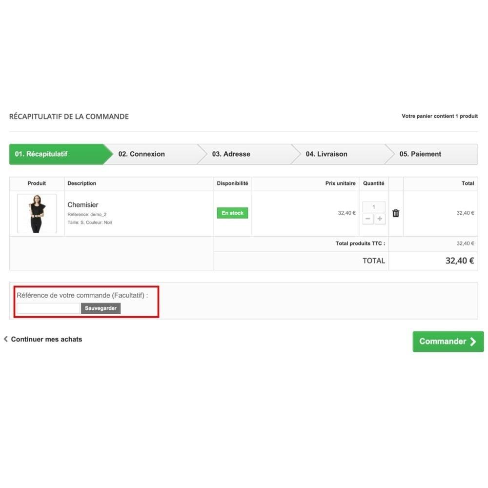 module - Gestion des Commandes - Référence client sur commande personnalisable - 2