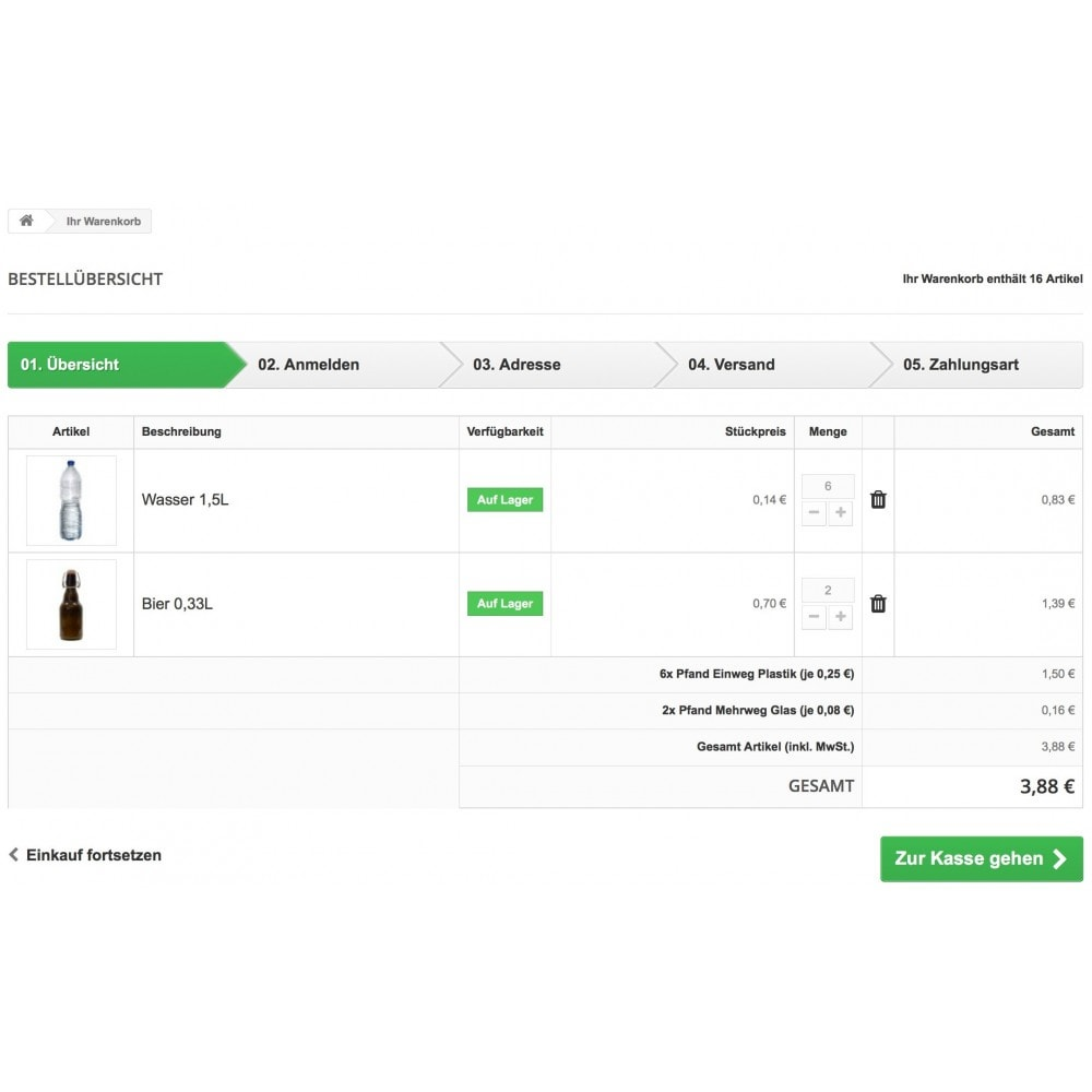 module - Zusatzinformationen & Produkt-Tabs - Pfand Manager - 3