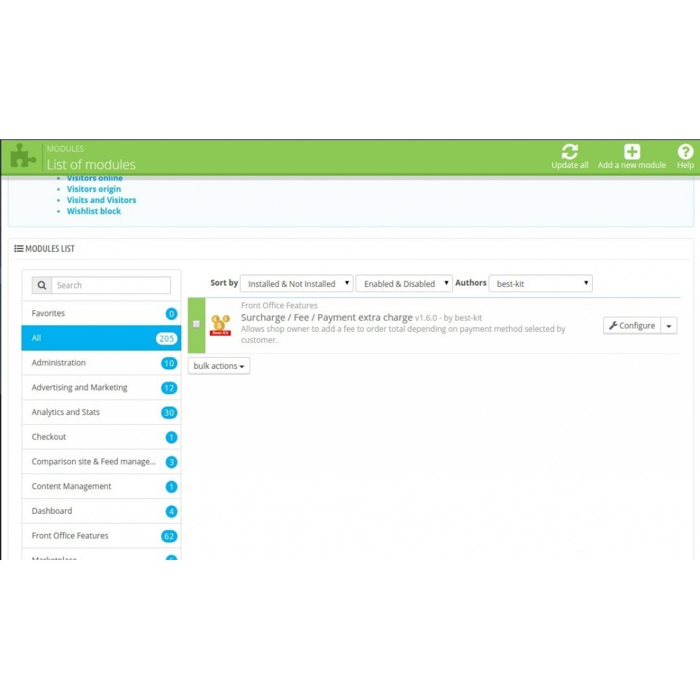 module - Registratie en Proces van bestellingen - Extra fee or discount based on payment - 1