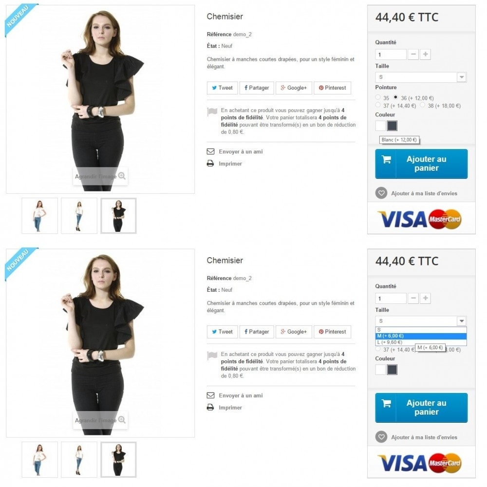 module - Bundels & Personalisierung - Impact on the price for each attribute - 1