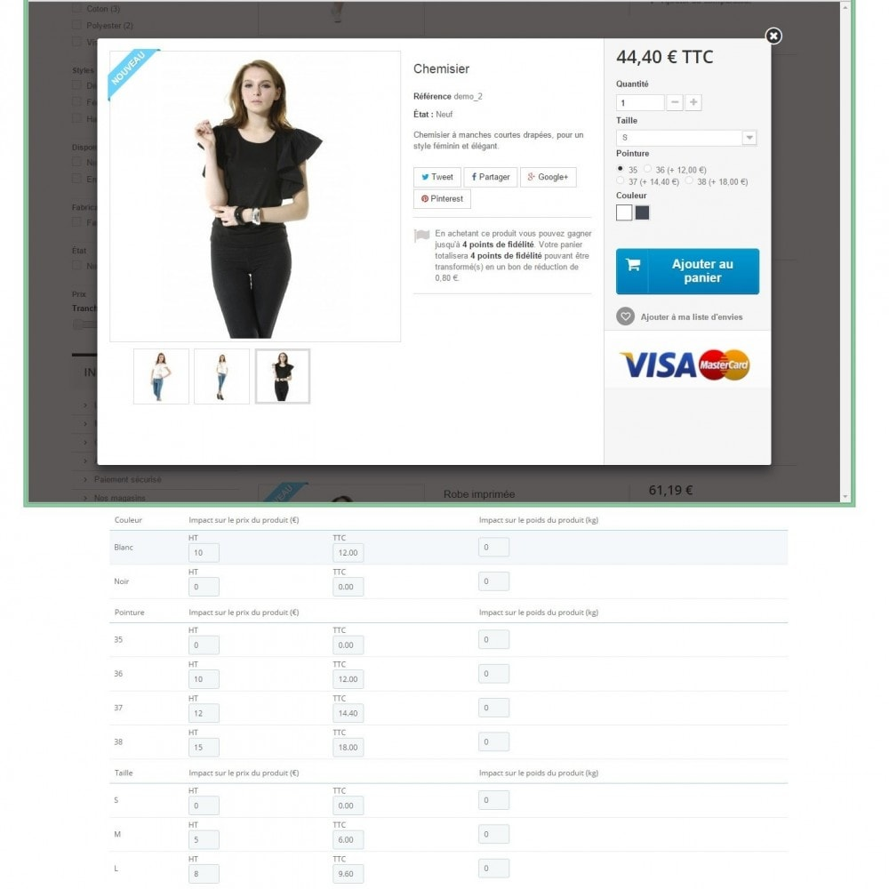 module - Bundels & Personalisierung - Impact on the price for each attribute - 2