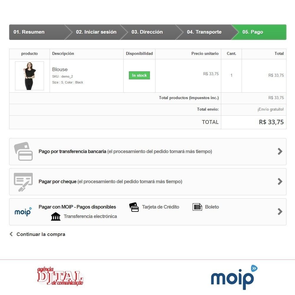 module - Pago con Tarjeta o Carteras digitales - Moip checkout - 4