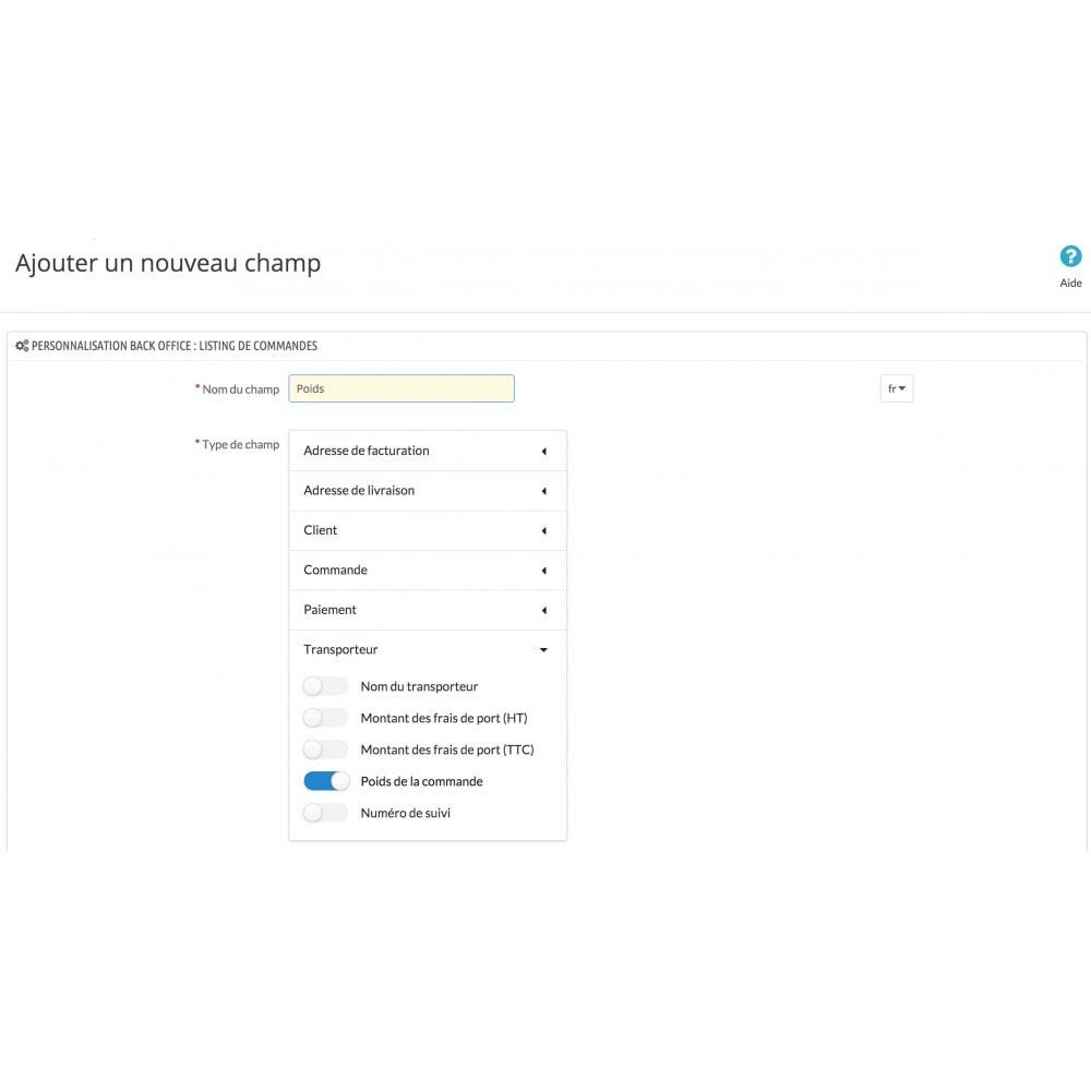 module - Gestion des Commandes - Personnalisation Back Office : Liste de commandes - 3