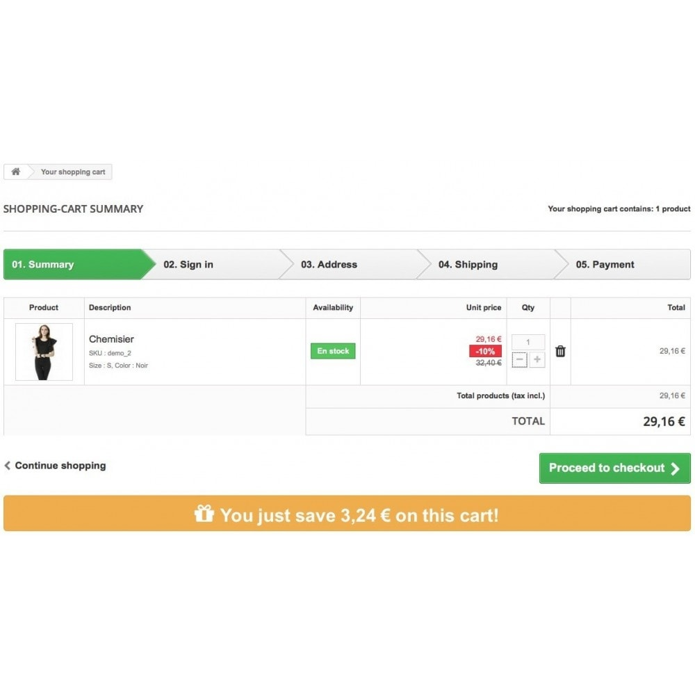 module - Registration & Ordering Process - Total saved on cart - 6