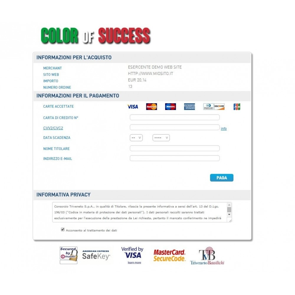 module - Creditcardbetaling of Walletbetaling - Consorzio Triveneto payment gateway - TVB - Advanced - 3