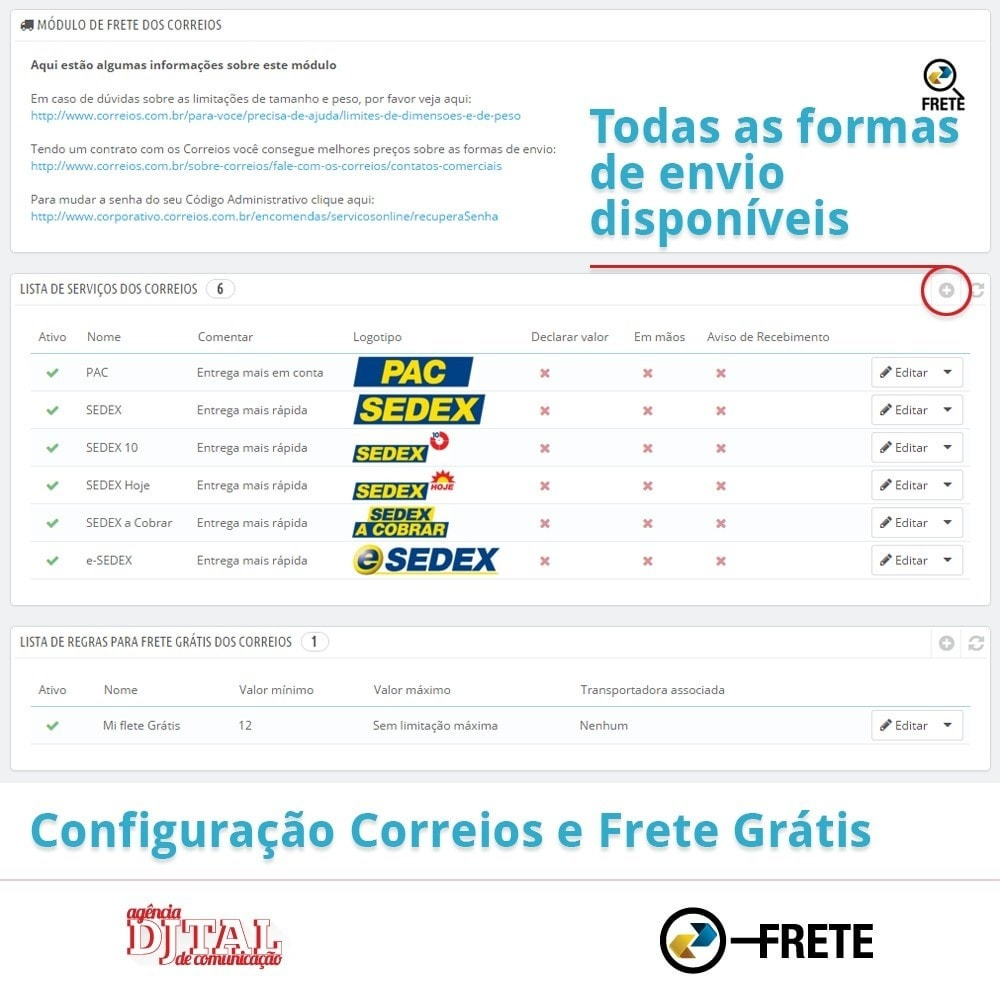module - Shipping Carriers - Shipping cost calculation by the Brazilian Correios - 2