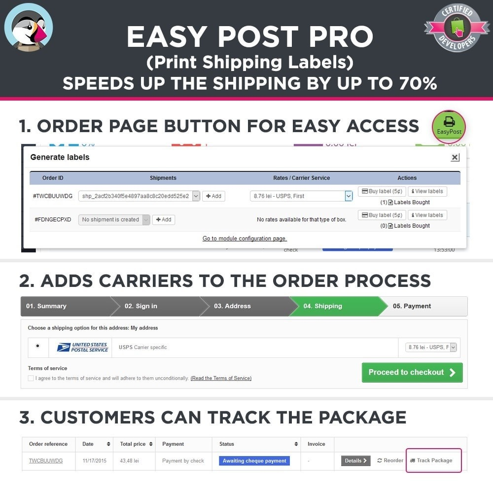 module - Kommissionierung & Versand - Easy Post Pro (DHL, GLS, DPD, Colissimo, RoyalMail etc) - 2