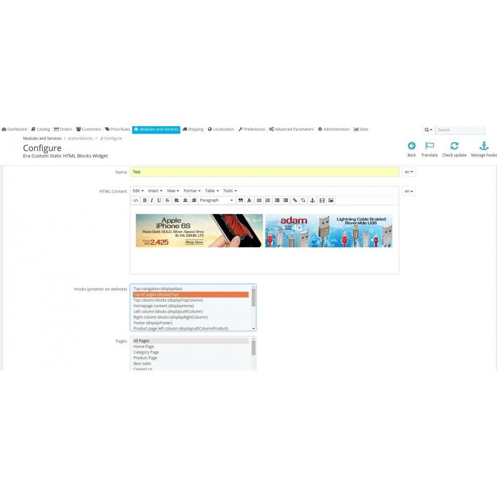 module - Personnalisation de Page - Era Custom Static HTML Blocks Widget - 7