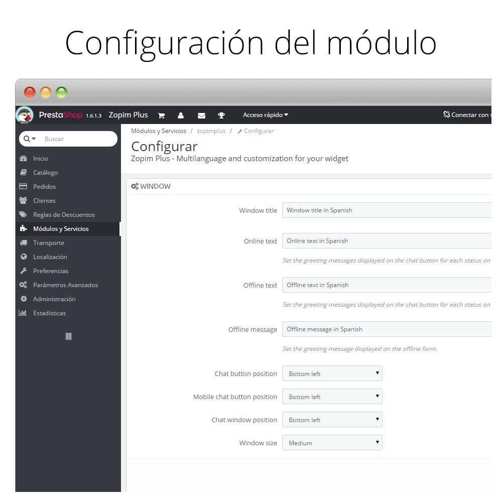 module - Asistencia & Chat online - Chat para Zendesk (Zopim) - Multiidioma, personalizable - 6