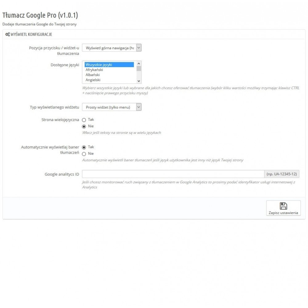 module - Międzynarodowość & Lokalizacja - Tłumacz Google Pro - 2