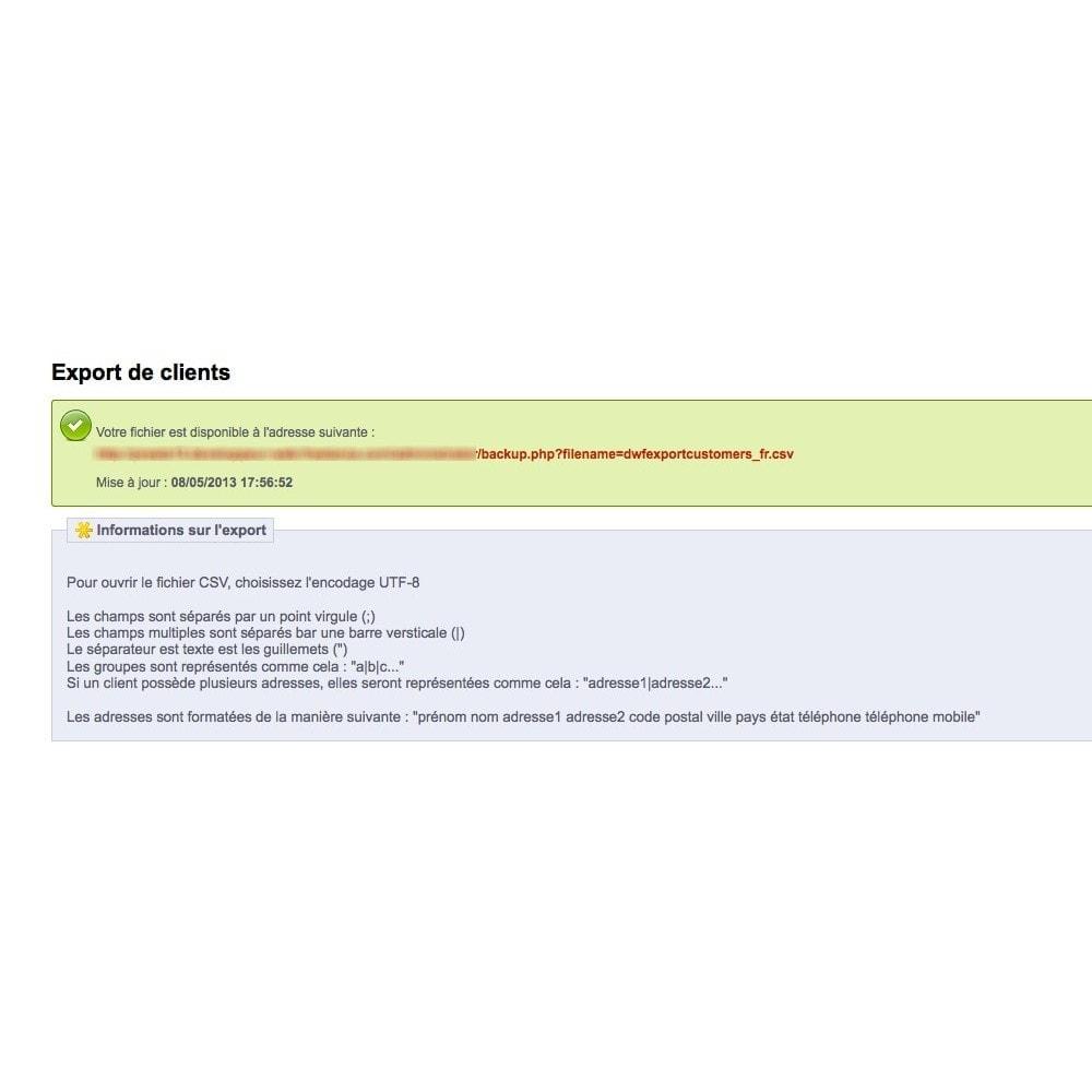 module - Import & Export de données - Export Base Clients - 3
