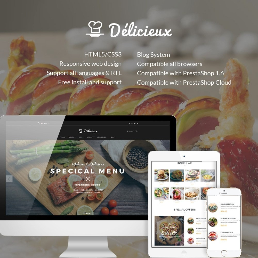 theme - Food & Restaurant - Water Delicieux Food Store - 1