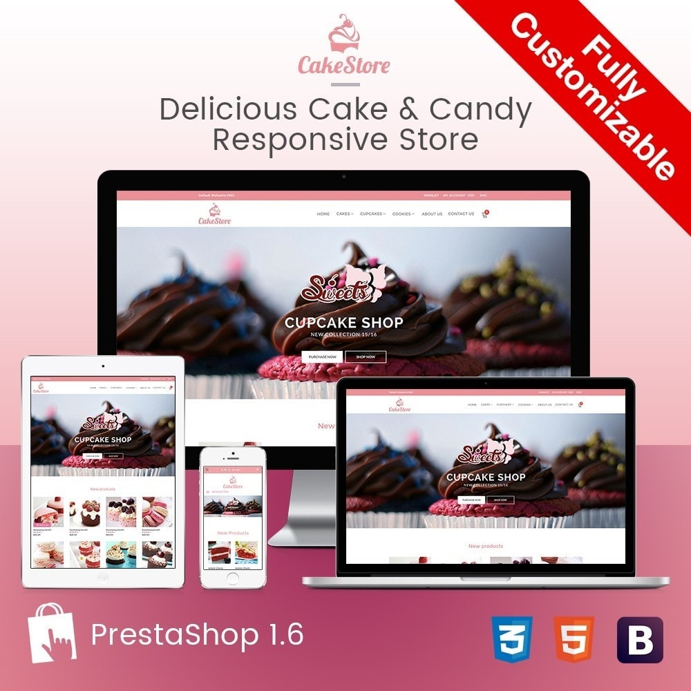 theme - Alimentation & Restauration - Bakery, Food & Drinks - CakeStore Responsive - 1