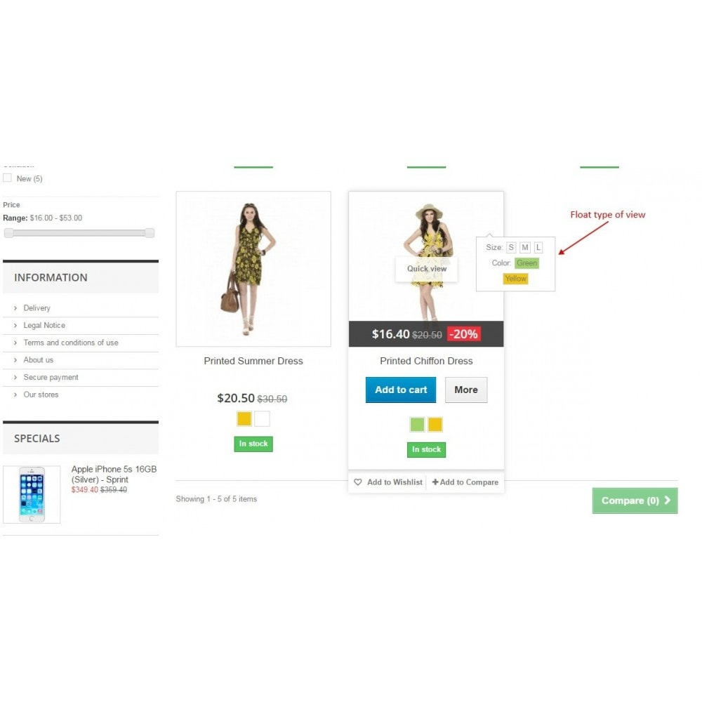 module - Combinations & Product Customization - Show combinations / Hover product list attributes - 6